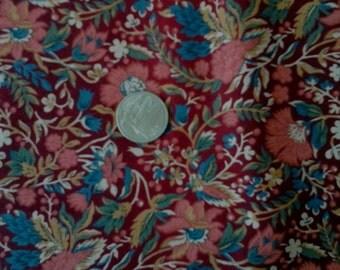 "Sale Cranston Dark Marroon, Salmon and Blue Floral 100% Cotton Fabric 1 1/4yard x 44"" Prewashed"