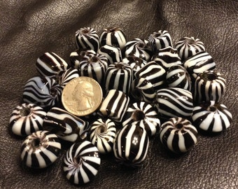 Zebra Stripes Black and White India Glass Beads 31 Count Mixed Shapes 15mm to 20mm