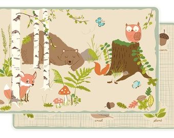 PLACEMAT for kids - forest woodland animals