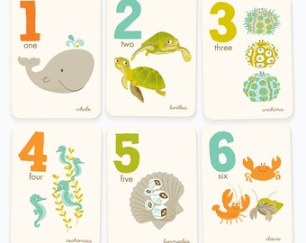 Counting flash cards, numbers wall art, number flash cards, Nursery decor, Ocean number wall art