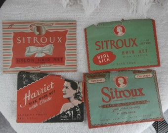 Hair nets-4 Vintage  1940's -1950's New in Original Package Hair nets  From Harriet, 3-Sitroux