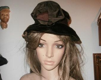 Womens Hat  Brown Velvet Lady's  Hat ~ Large Flower ~  Floppy Hat Vintage Hat