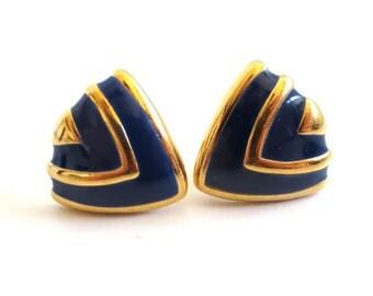 Vintage 80's Avon // Navy Enamel Chevron Clip on Earrings
