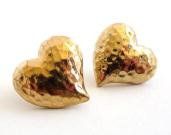 Vintage 80's Avon // Hammered Heart Earrings