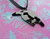 Gothic Double Black Crow Pendant Choker Whitby WGW Goth Horror Macabre Unusual OOAK UK Made in England Handmade Jewellery Silhouette Rock