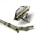 Small Falling Leaves Ring in Silver and Gold