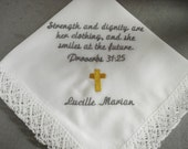 Baptism Handkercief -  Special ocassion -  vintage - personalized handkerchief machine embroidery