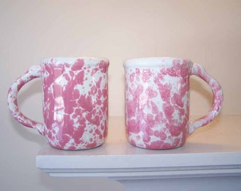 Bennington Potters, 2 Coffee Mugs, David Gil, Pink White Agate, Morning Glory Pink, Pottery Mugs, Vintage