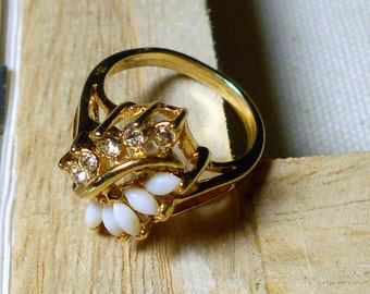 Vintage Opal/Faux Opal? Ring with Rhinestones Signed Size 7