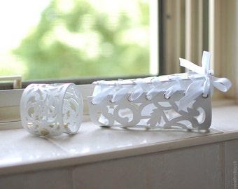 Leather Lace Cuff Bracelet - White Wedding Lace-Up Bridal Cuff