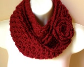 SALE Crochet Scarf, Infinity Scarf Cowl, Red, Pick Color, Rose Flower, Chunky Soft, Birthday Gift for Her, Holiday gifts Fall SJE467BF5
