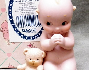 Kewpie Enesco  Figure Praying with Teddy Bear