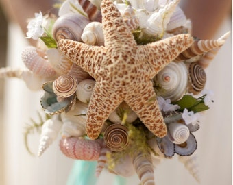 Wedding Seashell Small  Bouquet for Bride or Bridesmaids Sea Shells Starfish
