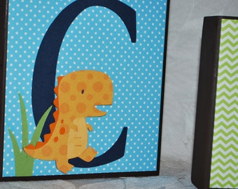 LARGE Name Block Letters . Dinosaur . Crosby