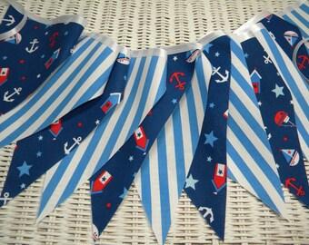 Free USA Shipping/Blue Nautical Fabric Banner/Fabric Banner/Fabric Flag/Photo Prop Banner/Birthday Pennant/Birthday Banner/Pennant