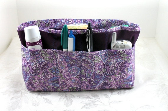 Purse Organizer Insert -Size Mediuml pictured - Purple Paisley - 5 sizes with options