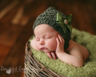 WOODLAND Baby Set Hand Knit Newborn Green Pixie Hat Pants Boy Photo Prop Going Home Bonnet Girl Shower Gift Coming Fall Outfit READY To Ship