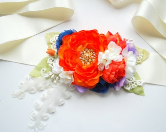 SALE, cij, orange blue  flower sash, weddings accessories, bridal hair flower comb, maternity belt, bridesmaids hair comb headpiece, pprop