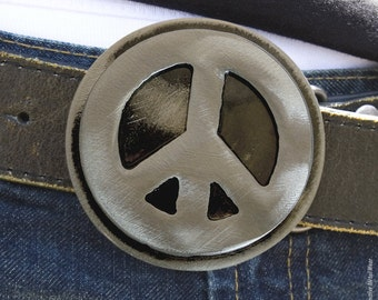 Peace Belt Buckle by WATTO Distinctive Metal Wear/ Handmade Distressed Metal Peace Sign Metal Belt Buckle / Buckle for Men /Mens Belt Buckle