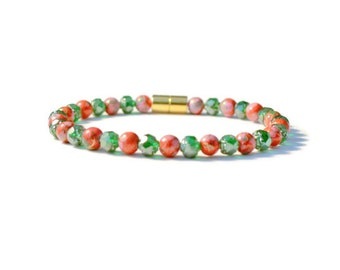 Emerald/Red Therapeutic Magnetic Bracelet with Magnetic Clasp