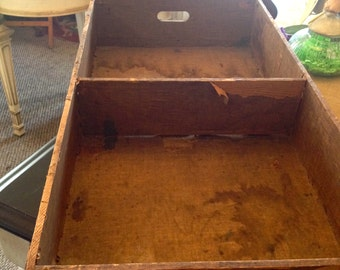 Vintage Trunk Tray with metal corners and cut out handles