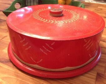 Vintage Red Leaf Detailed Cake Carrier