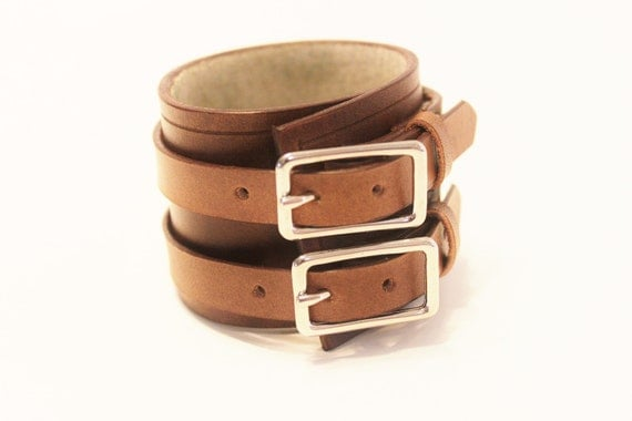 Rugged Brown Leather Cuff Bracelet Adjustable with Buckles Mens Womens