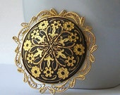 Vintage Black and Gold Damascene Brooch, Gold Baroque Pin