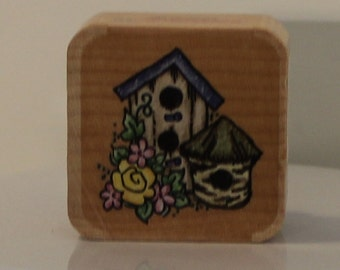 Two Birdhouses with Flowers Rubber Stamp