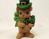 Ceramic Lucky St Patricks Day Bear with Shamrocks