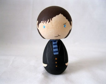 Sherlock Holmes Kokeshi Peg Doll Collectable Art Doll