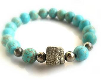 Turquoise Magnesite Bracelet  Gold Raw Pyrite / Stone Bracelet  Stacks / Druzy pyrite / Boho Bracelet / Elastic beaded bracelet Yoga chic