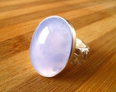 Chalcedony Ring Sterling Silver Ring With Natural Light Purple And Blue Chalcedony