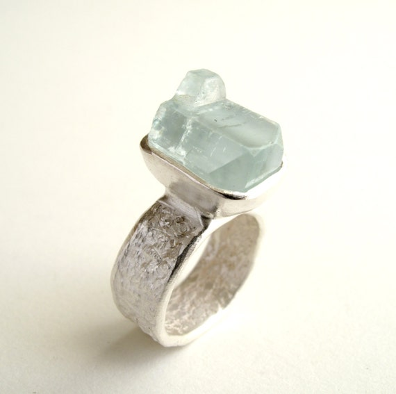 Aquamarine Ring Sterling Silver With Natural Raw Aquamarine Aquamarine Crystal Jewelry