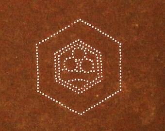 Vintage  Japanese Stencil Stars Family Crest Kamon Stencil ST161 straight line with 3 stars