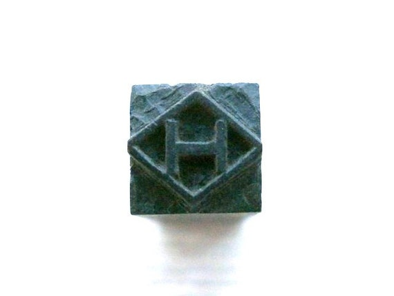 Japanese Stamp H in Diamond Shape in Showa Period
