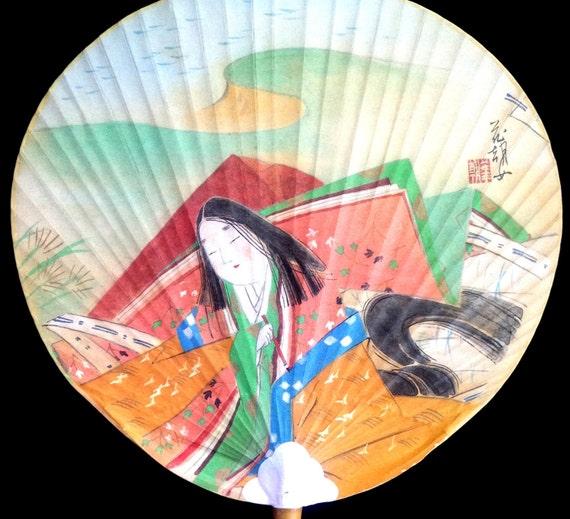 Japanese paper paddle fan uchiwa vintage fan by vintagefromjapan - Japanese paddle fan ...