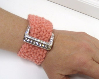Buckle Bling Bracelet Pink Cuff Upcycled Repurposed Hand Knit Hand Made Sparkle Wrist Wristlet