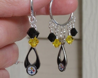 Pittsburgh Steelers Earrings, Steelers Bling, Black and Gold Pro Football Hoop Earrings, Football Steelers Jewelry Accessory Fanwear