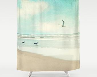 Curtains Ideas beach shower curtain : Ocean Shower Curtain typography quote beach aqua home