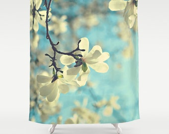 White magnolia Fabric Shower Curtain, aqua, bathroom, home decor, pastel flowers, floral shower curtain, spring