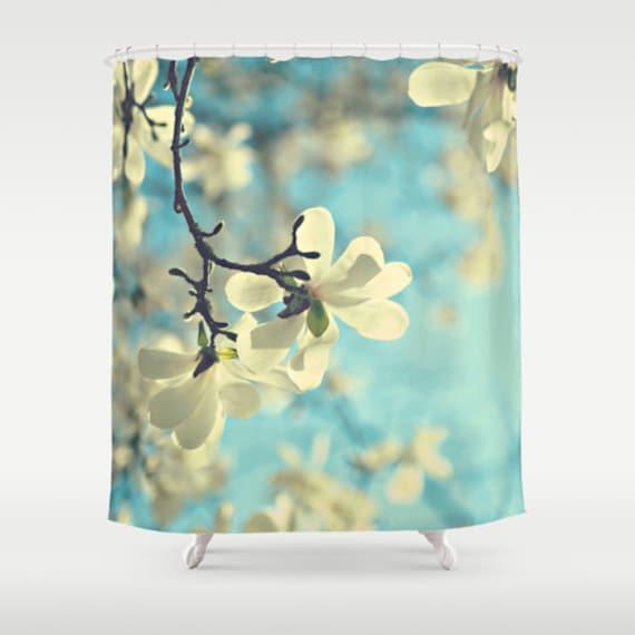 White magnolia Fabric Shower Curtain, aqua, bathroom, home decor, pastel flowers, floral shower curtain, spring