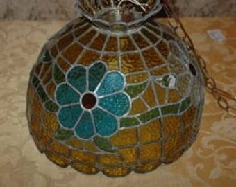 Vintage Leaded Stained Glass Hanging Light Shade Amber, Blue, Green, Orange, And Clear