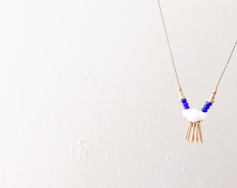 SALE! - a bright little necklace - white geometric & cobalt blue beads with brass dangles