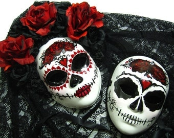 True Love Ways Day of the Dead Wedding Set, 4 Day of the Dead themed masks and 1 top hat
