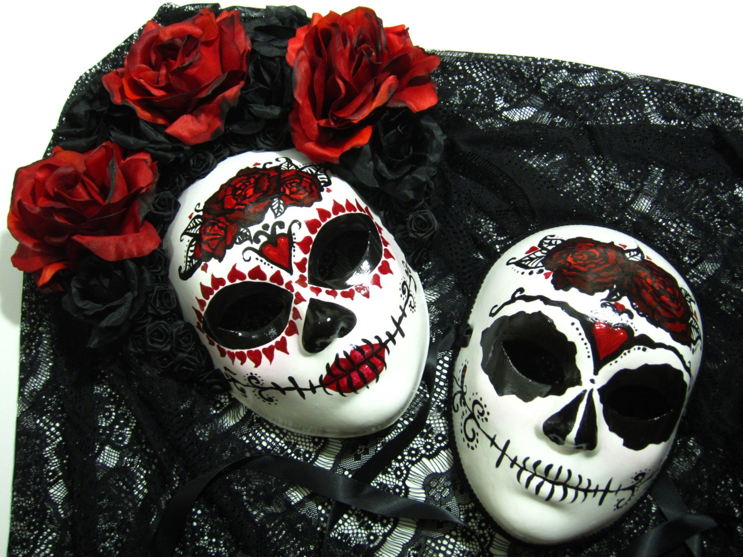 True Love Ways Day of the Dead female//male paired masks