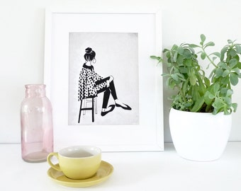 Women with top knot : Whimsical Art Print / illustration