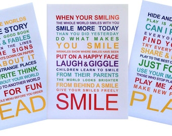 SALE - A3 Typography Wall Art Prints - Set of 3 Playroom Rules