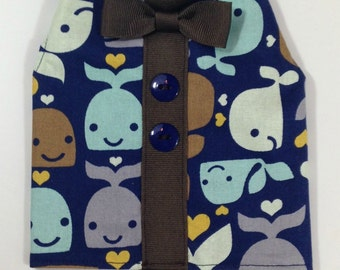 Once In A Whale Dog Harness Vest Shirt For Males Size XXXS through Medium by Doogie Couture