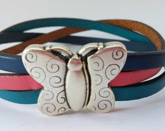 Thyroid Cancer Bracelet with Magnetic Antique Silver Butterfly Clasp